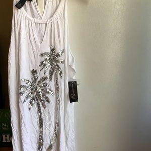 Boho Escape White Glittery Palmtree Tanktop